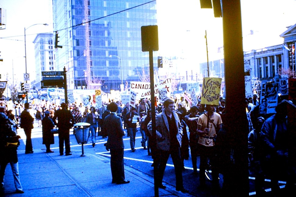 Anti Vietnam war demonstration. Vancouver. 1968