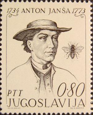 Anton Janša - Anton Janša on a 1973 Yugoslavian stamp. Drawing by Božidar Jakac.
