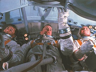 Apollo 1 - Chaffee, White, and Grissom training in a simulator of their command module cabin, January 19, 1967