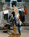 Apollo 14 crew pose on the ladder of a LM mock-up Ap14-S70-45581HR.jpg