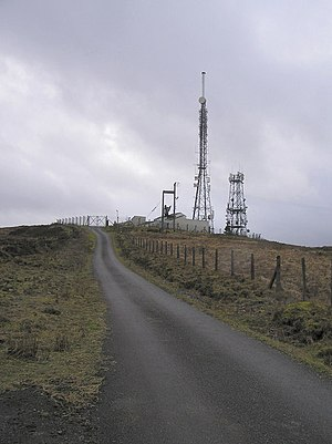Brougher Mountain transmitting station - Image: Approaching the Masts on top of Brougher mountain geograph.org.uk 326142