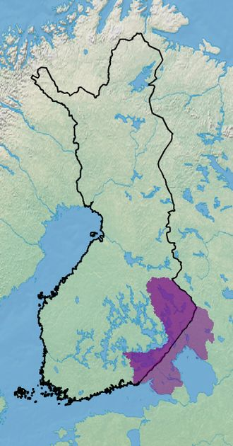 Karelia (historical province of Finland) - Approximate area of historical Karelia compared to borders of modern-day Finland.