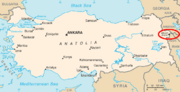 Location of Mount Ararat in Turkey