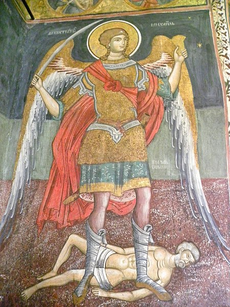 File:Archangel Michael painted on the walls inside the church of Govora Monastery, Romania.jpg