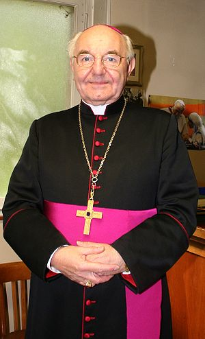 Pectoral cross - Archbishop Fernand Franck of Luxembourg wearing a gold pectoral cross on a chain.