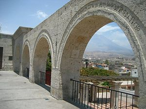 "Sillar - Arches of the ""Mirador of Yanahuara"" in Arequipa. The arches are made of sillar."