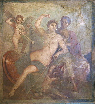 The mythological adultery of Venus and Mars, here attended by Cupid, was a popular subject for painting Ares e Afrodite.JPG