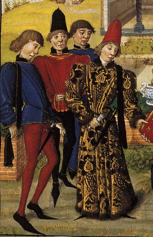 Crakow (shoe) - Poulaines worn in Burgundy ca. 1470
