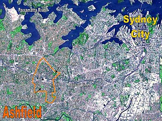 Ashfield, New South Wales - NASA image of Sydney's CBD and inner west suburbs, with borders of Ashfield shown in orange