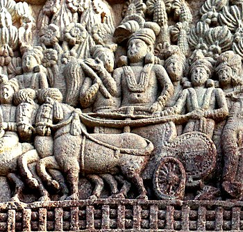Ashoka's visit to the Ramagrama stupa Sanchi Stupa 1 Southern gateway.jpg