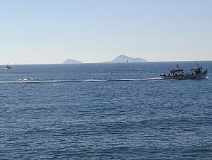 Christiana Islands - Christiana as seen from Santorini. Askania is on the left and Christiani on the right.