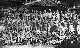 Tarō Asō - Australian POWs forced to work at the Aso mining company, photographed in August 1945.