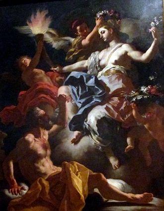 Aurora (mythology) - Aurora Taking Leave of Tithonus 1704, by Francesco Solimena