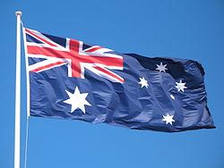 The Australian Flag at full mast.