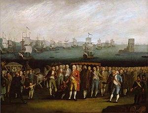 Descendants of John VI of Portugal - Family of John VI Embarking from Belém, Lisbon; 1810.