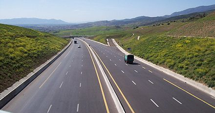 The main highway connecting the Moroccan to the Tunisian border was a part of the Cairo-Dakar Highway project Autoroute est ouest ghomri2.JPG