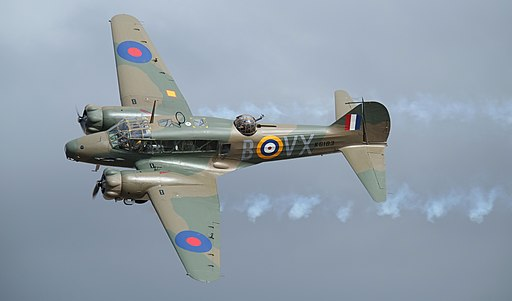 Avro Anson Mk1 with puffy smoke trail