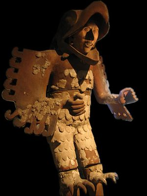 Eagle warrior - Statue of an eagle warrior (cuāuhtli), found during excavation of the Templo Mayor of Tenochtitlan