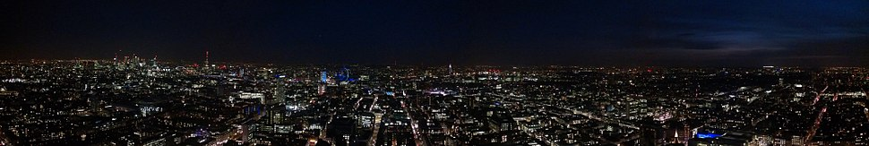 Panoramic view from BT Tower in the evening.