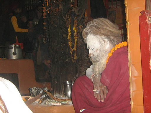Baba in temple during Sivaratri festival
