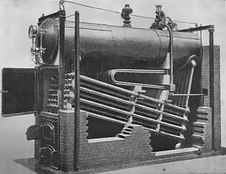 Water-tube boiler - Image: Babcock and Wilcox boiler (Heat Engines, 1913)