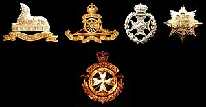Royal Anglian Regiment - The badge of the Royal Anglian Regiment (right) and of one of its predecessors, the Royal Lincolnshire Regiment (left), the Royal Bermuda Regiment (bottom), and both of its predecessors, the Bermuda Militia Artillery (Royal Artillery) and the Bermuda Volunteer Rifle Corps (second and third from left).