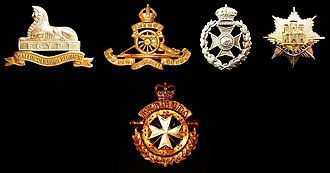 Royal Bermuda Regiment - The badge of the Royal Bermuda Regiment (bottom) draws elements from those of the BMA (Royal Artillery, second from left) and the BVRC (second from right). The badge at the left is that of the Royal Lincolnshire Regiment, affiliated to the BVRC, and that at the right belongs to the Royal Anglian Regiment, its successor.