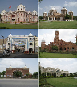 Clockwise from top: Darbar Mahal, a former palace of the Nawabs of Bahawalpur, Noor Mahal, Farid Gate, Sadiq Dane High School, Entrance of Dring Stadium and Bahawal Victoria Hospital.