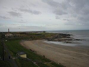 Balbriggan - Balbriggan Beach with Martello tower in the background.