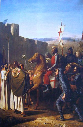 First Crusade - Baldwin of Boulogne   entering Edessa in 1098 (history painting, Joseph-Nicolas Robert-Fleury 1840)