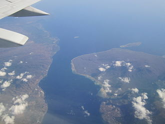Bali Strait - Aerial view of the Strait with Java on the left and Bali on the right