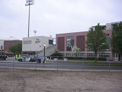Exterior of ballpark from parking lot