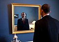 Barack Obama takes one last look in the mirror, before going out to take oath, Jan. 20, 2009.jpg