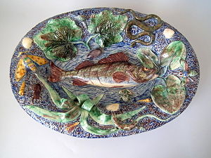 Palissy ware - French Palissy ware dish, 17.7ins., c.1870, maker Barbizet, depicting fish, reptiles, insects and leaves.