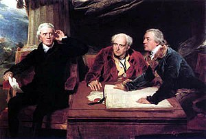 Sir Francis Baring, 1st Baronet - Sir Francis Baring (left), with brother John Baring and son-in-law Charles Wall, in a painting by Sir Thomas Lawrence