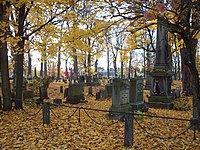 A general view of the Batavia Cemetery featuring a family plot surrounded by a decorative iron fence. The plot features a large obelisk grave marker. It is autumn, and the ground is covered with yellow fallen leaves.