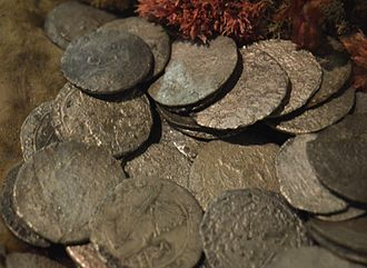 Batavia (ship) - Rijksdaalder silver coins recovered from the wreck site