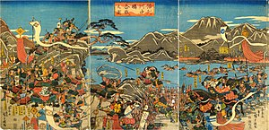 Battles of Kawanakajima - The battle of Kawanakajima, Shingen on the left and Kenshin on the right; woodblock print by Utagawa Hiroshige (1845)