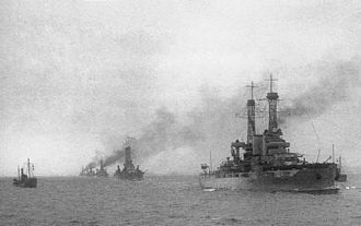 USS Wyoming (BB-32) - Battleship Division 9 steaming into Scapa Flow