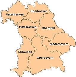 La administraj distriktaroj de Bavario