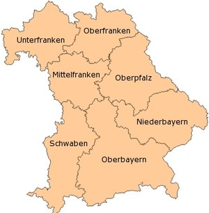 Under 15 Bayernliga - Map of Bavaria: The seven Bezirksoberligas