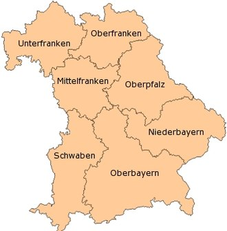 Bavarian Cup - Map of Bavaria: The seven Bezirke
