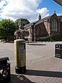 Bedworth gold post box and church.jpg