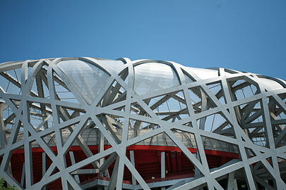 Olympics interior view of the stadium 2008 summer olympics flame