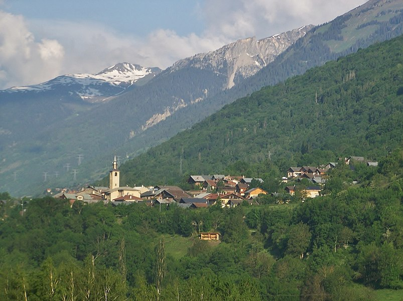 General sight of commune of Bellentre in Tarentaise valley, Savoie, France.