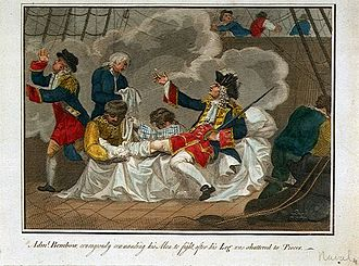 Action of August 1702 - The injured Benbow continues to order the attack