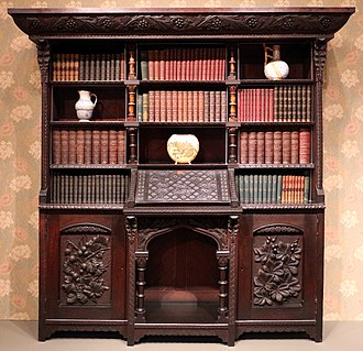 Furniture - Elegant Art and Craft wardrobe; by Benn Pitman; 1884; Cincinnati Art Museum (USA)