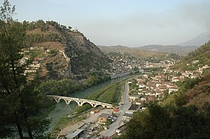 Siege of Berat (1280–1281) - The river Osum, flowing through Berat, with the hill of the citadel on the left.