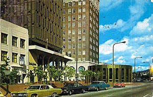 Shattuck Avenue - A 1973 color photocrome postcard of the Downtown Berkeley BART Station and Berkeley Chamber of Commerce building