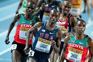 2012 IAAF World Indoor Championships – Men's 3000 metres - Bernard Lagat en route to victory.